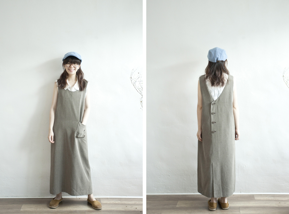 NBV4995 alma grey almond cross stitch slant buttoned dress   price: HK$298 / NT$1280   handpicked in korea    也在賣 \\ 上衣 \ 帽子 \ 鞋子