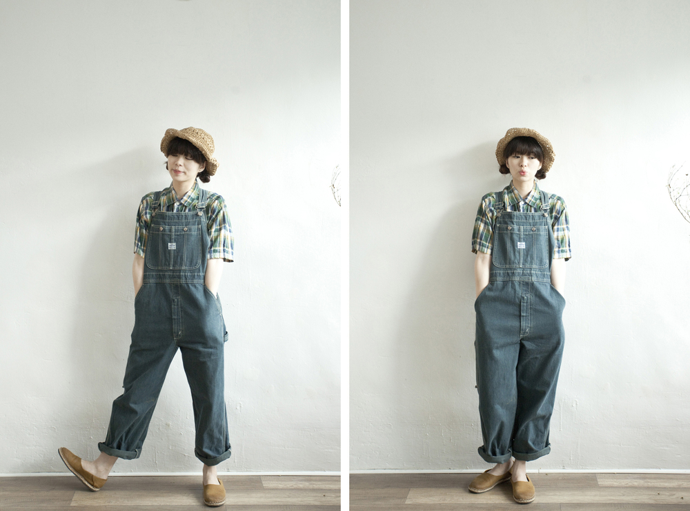 NBV4991 patty washed blue worker pinafore pants   price: HK$328 / NT$4100   handpicked in korea    也在賣 \\ 上衣 \ 帽子 \ 鞋子
