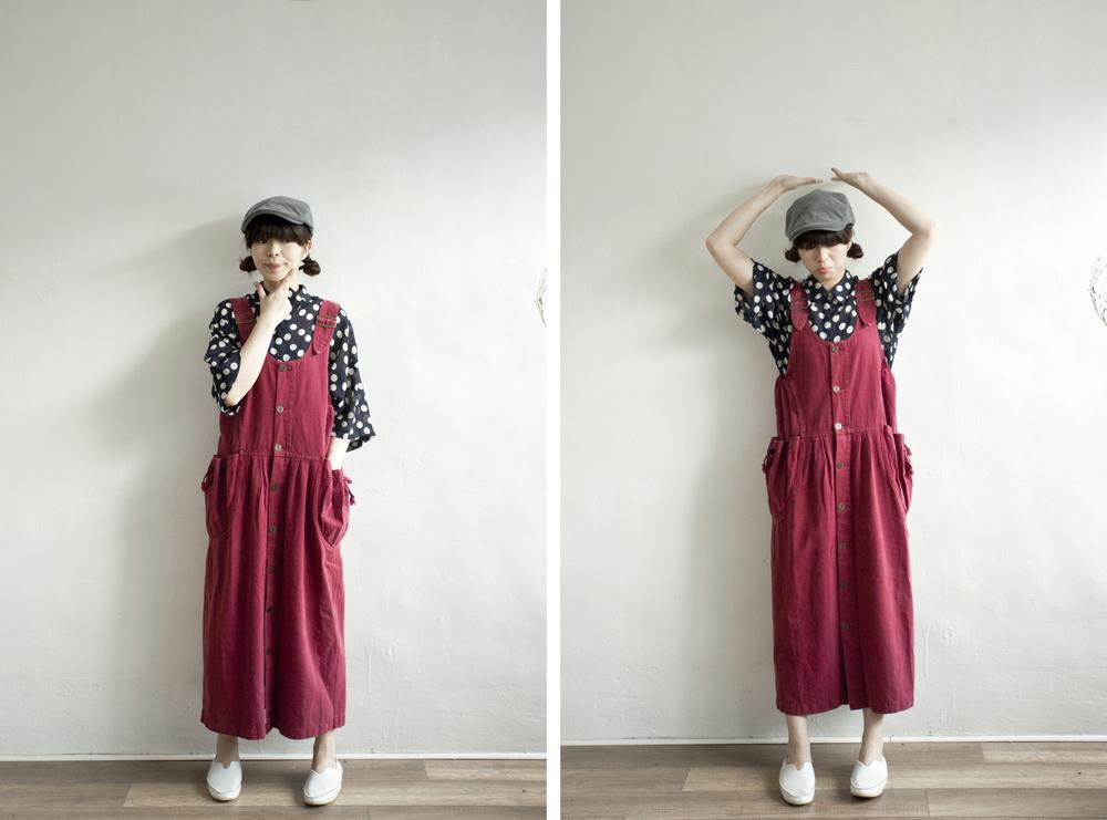 NBV4977 ellen maroon red buckle strap pinafore dress   price: HK$298 / NT$1280   handpicked in korea    也在賣 \\ 上衣 \ 帽子 \ 鞋子