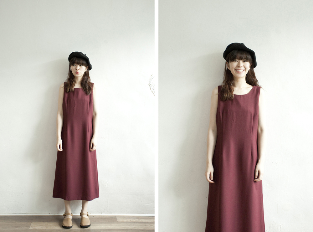 NBV4973 cormorant deux wine simple dress   price: HK$268 / NT$1150   handpicked in korea    也在賣 \\ 帽子 \ 鞋子