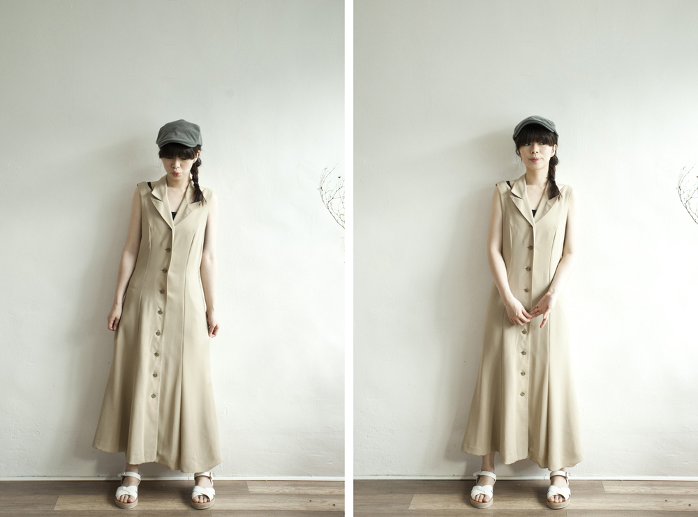 NBV4968 alpha aim beige cut out shoulder buttoned dress price: HK$278 / NT$1200 handpicked in korea  也在賣 \\ 帽子 \ 鞋子