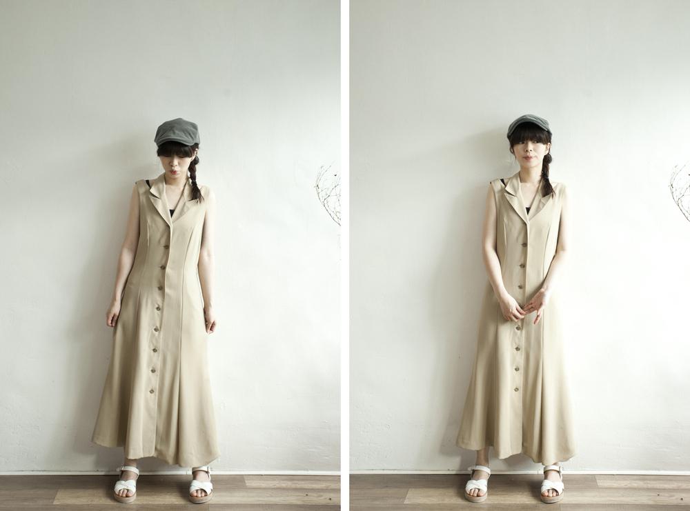 NBV4968 alpha aim beige cut out shoulder buttoned dress price: HK$278 / NT$1200 handpicked in korea  也在賣 \\ 帽子 \ 鞋子