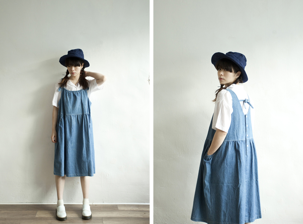 NBV4989 helena gathered pocket denim dress price: HK$298 / NT$1280 handpicked in korea  也在賣 \\ 上衣 \ 帽子 \ 鞋子