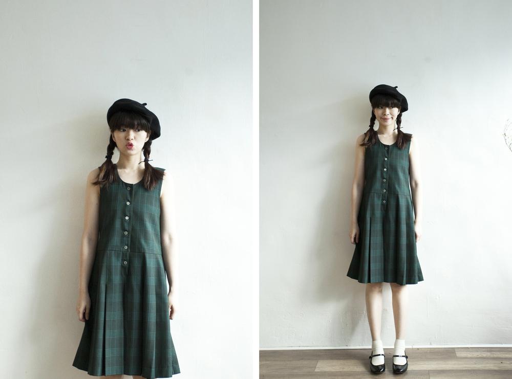 NBV4919 lenxie green plaids strap pleats dress   price: HK$298 / NT$1280   handpicked in korea    也在賣 \\ 帽子 \ 鞋子