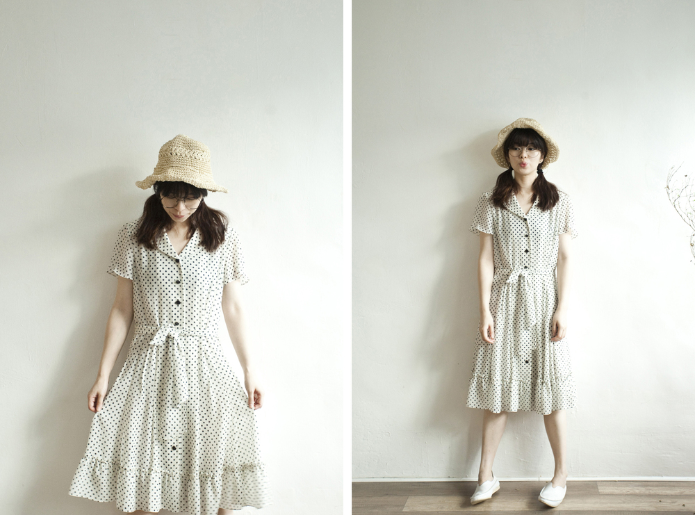 NBV4836 wrenda b/w polka dots ruffle hem chiffon dress   price: HK$188 / NT$800   handpicked in korea    也在賣 \\ 帽子 \ 鞋子