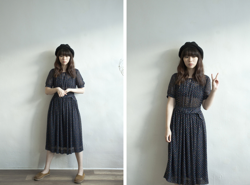 NBV3945 darina mixed dots chiffon dress price: HK$158 / NT$680 handpicked in korea  也在賣 \\ 帽子 \ 鞋子