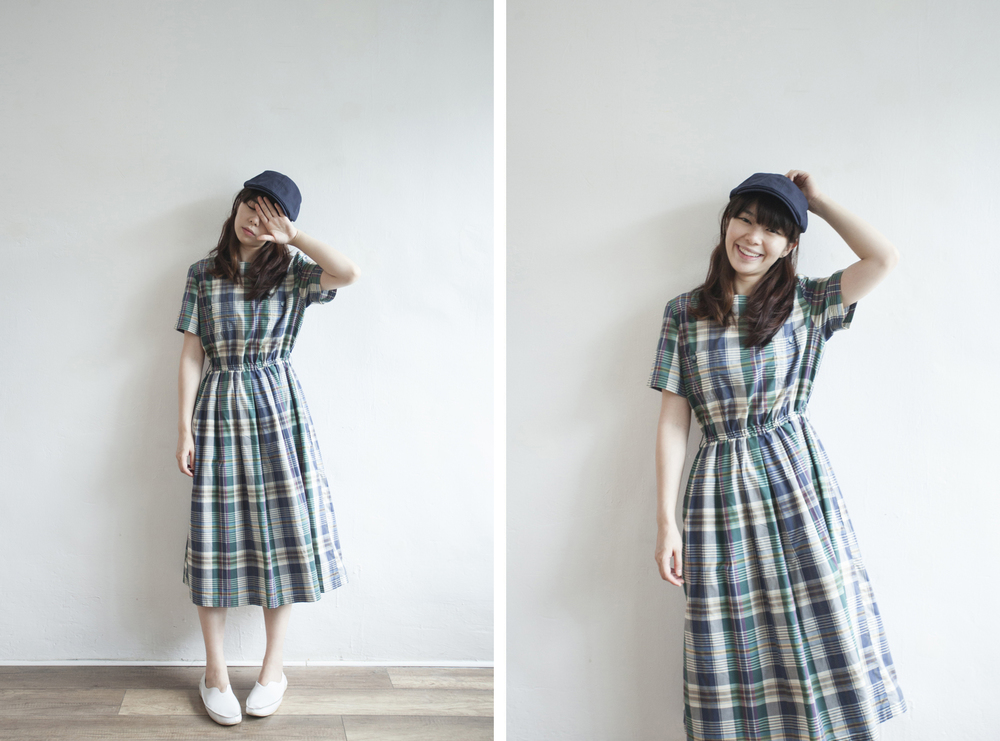 NBV5058 tabi checks double pocket country dress price: HK$298 / NT$1280 handpicked in korea  也在賣 \\ 帽子 \ 鞋子
