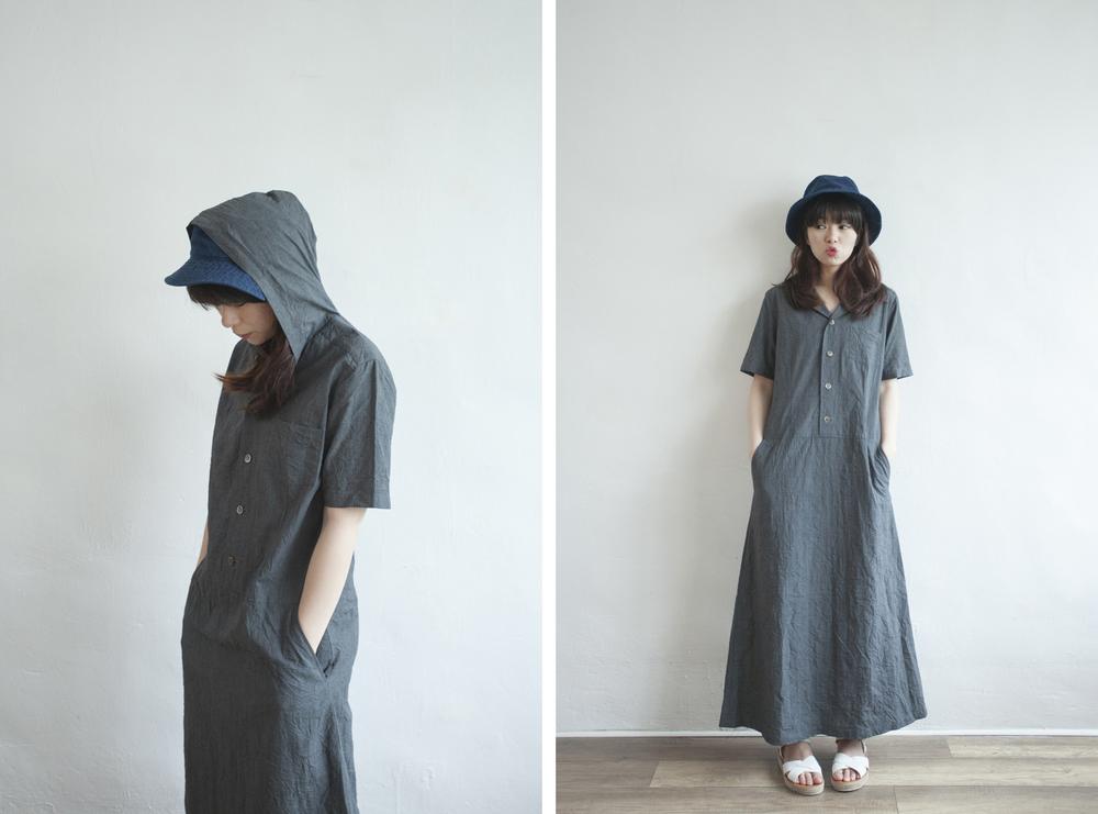 NBV5073 semma creased cotton charcoal hood dress price: HK$328 / NT$1410 made in japan  也在賣 \\ 帽子 \ 鞋子