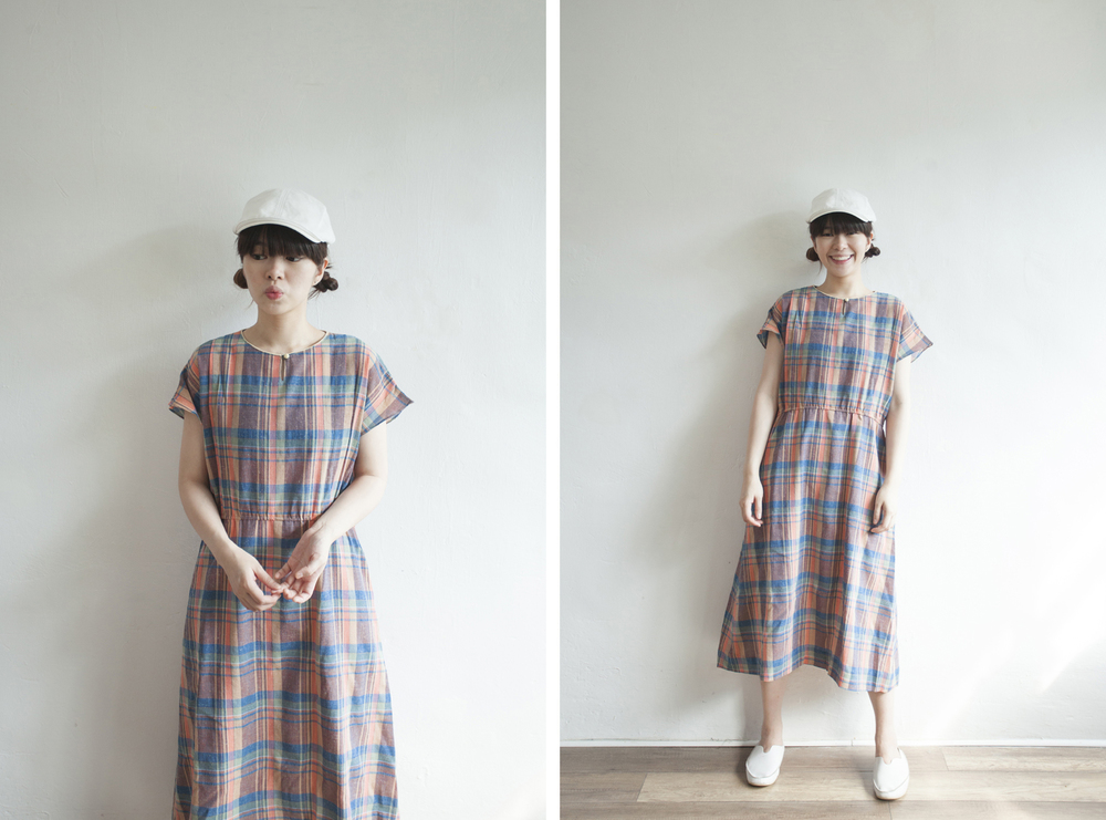 NBV5042 heiman chest loop hole plaids linen dress price: HK$348 / NT$1490 made in japan  也在賣 \\ 帽子 \ 鞋子