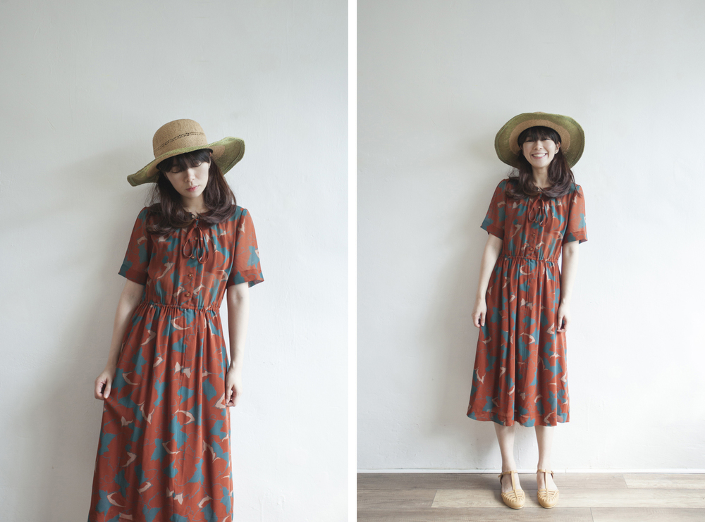 NBV5041 obie sienna brown fern leaves dress price: HK$328 / NT$1410 handpicked in korea  也在賣 \\ 帽子 \ 鞋子