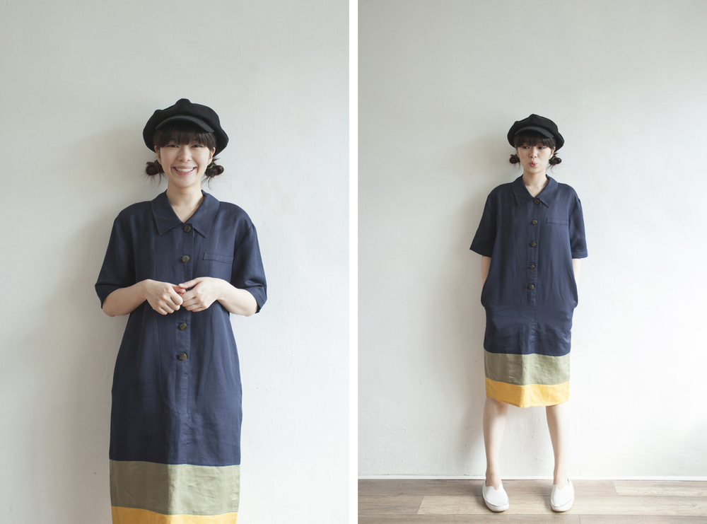 NBV5070 willever color block hem navy dress price: HK$298 / NT$1280 made in italy  也在賣 \\ 帽子 \ 鞋子