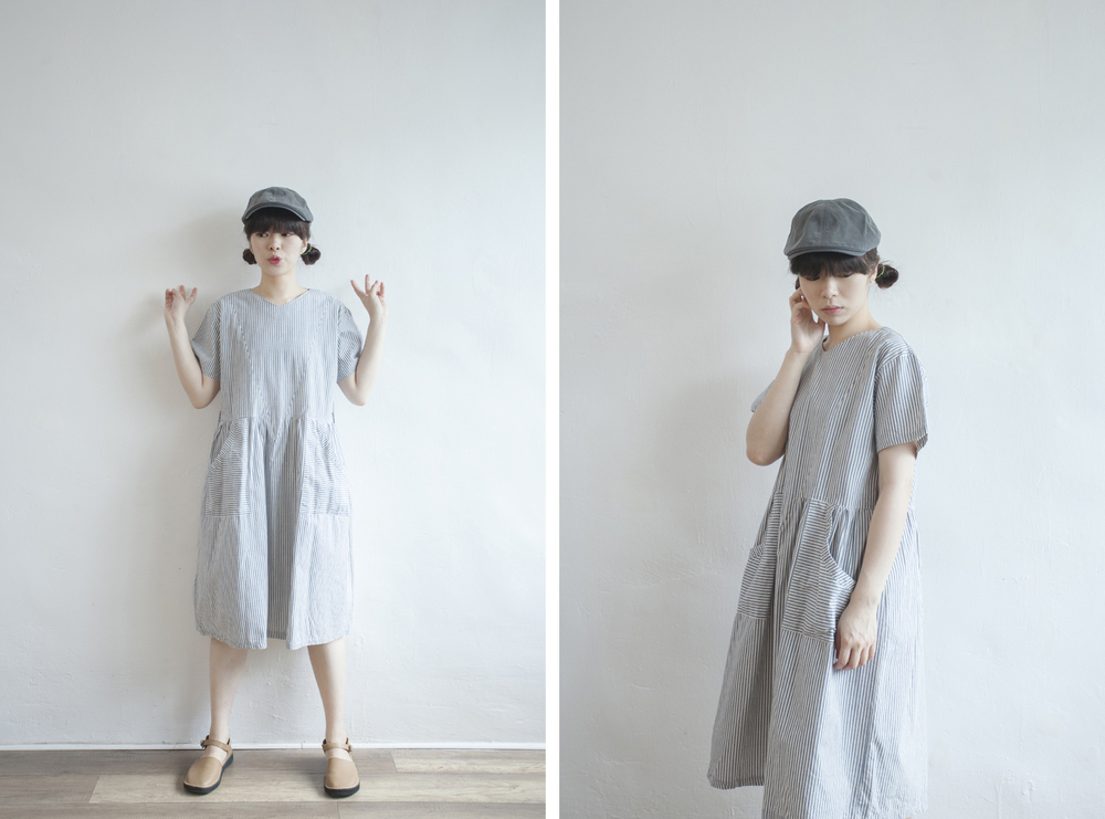 NBV5060 nanelle v collar blue stripe cotton dress price: HK$298 / NT$1280 handpicked in korea  也在賣 \\ 帽子