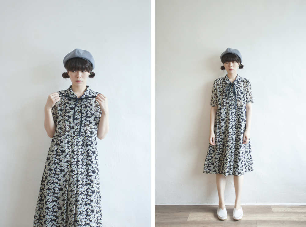 NBV5079 dandelion ribbon tied chiffon dress price: HK$298 / NT$1280 handpicked in korea  也在賣 \\ 鞋子
