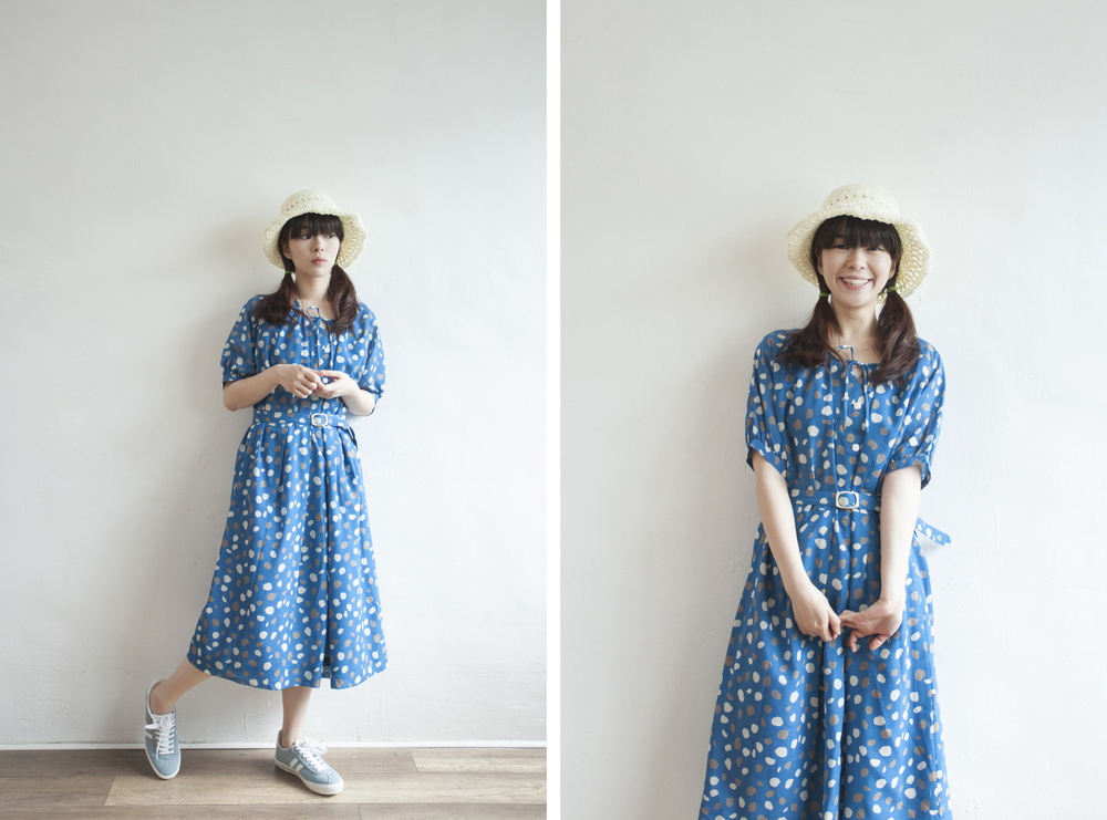 NBV5062 cassondri oceal blue petals vintage dress (with belt) price: HK$298 / NT$1280 handpicked in korea  也在賣 \\ 帽子 \ 鞋子