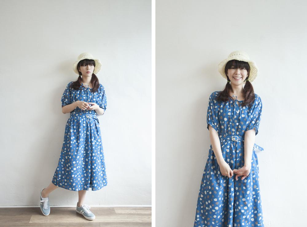 NBV5062 cassondri oceal blue petals vintage dress (with belt) price: HK$298 / NT$1280 handpicked in korea  也在賣 \\ 帽子 \ 鞋子