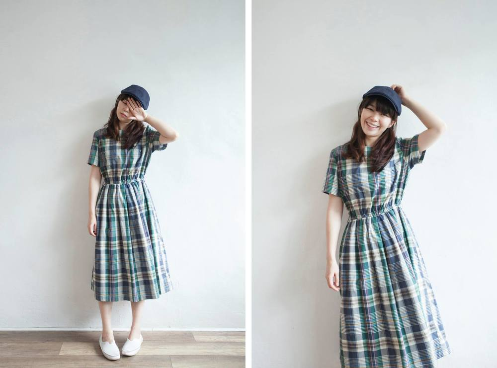 NBV5058 tabi checks double pocket country dress price: HK$298 / NT$1280 handpicked in korea  也在賣 \\ 帽子 \ 鞋子