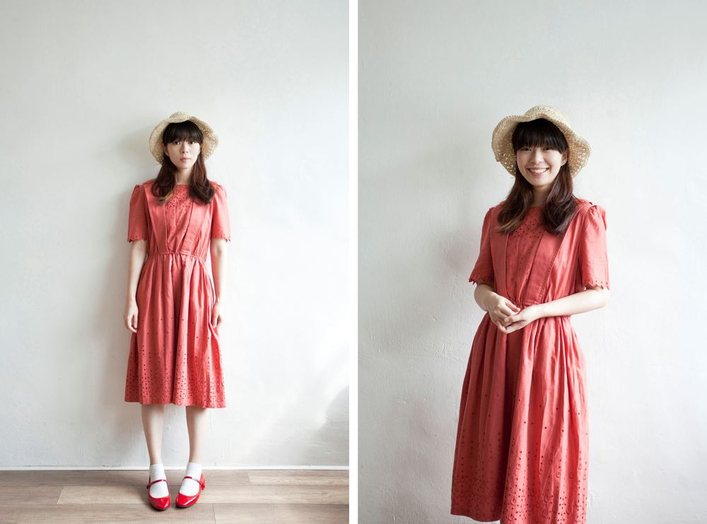 NBV5047 adela crochet hem cotton linen mixed coral dress price: HK$248 / NT$1070 made in japan  也在賣 \\ 帽子 \ 鞋子