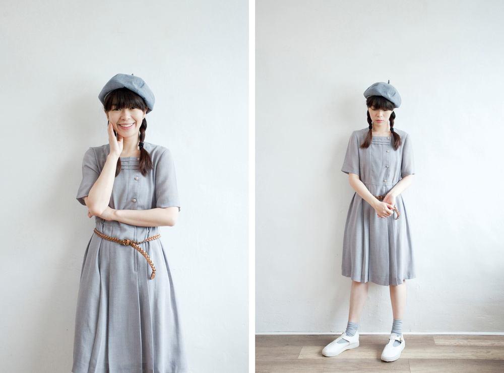 NBV5072 karielle square collar grey blue linen dress price: HK$278 / NT$1190 handpicked in korea