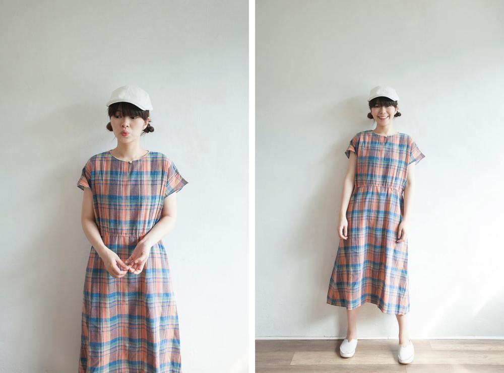 NBV5042 heiman chest loop hole plaids linen dress price: HK$348 / NT$1490 made in japan  也在賣 \\ 帽子 \ 鞋子