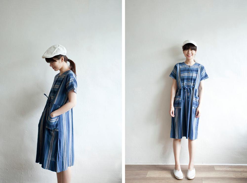 NBV5064 cicely blue stripes linen summer dress price: HK$298 / NT$1280 handpicked in korea  也在賣 \\ 帽子 \ 鞋子