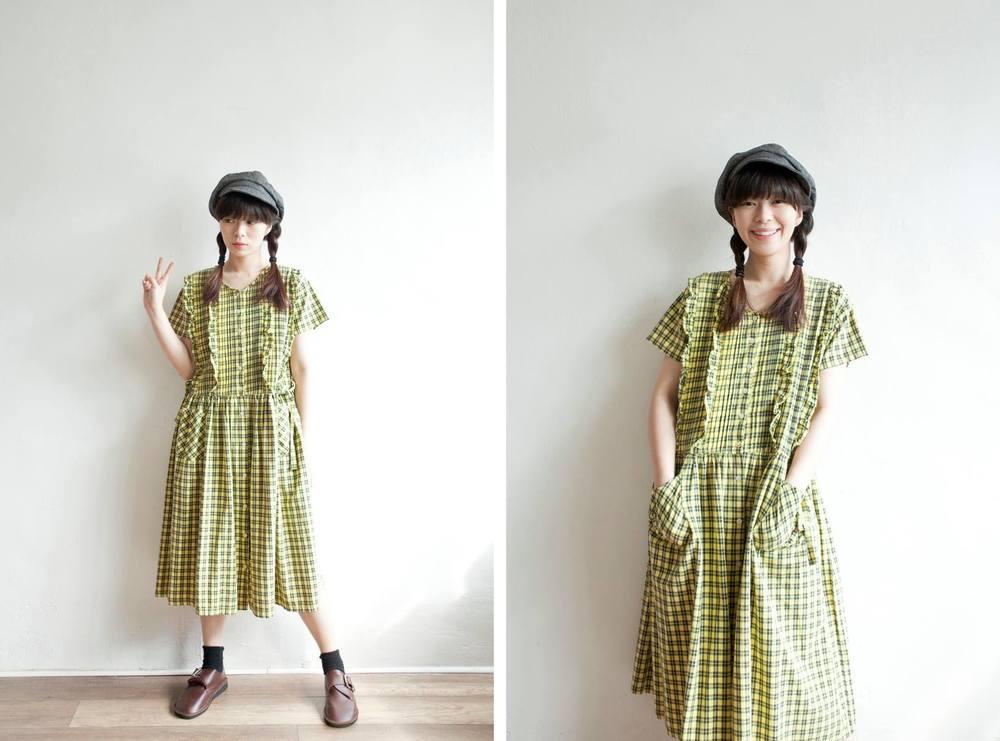 NBV5037 lavone neon yellow side ribbon plaids dress price: HK$278 / NT$1190 handpicked in korea  也在賣 \\ 帽子