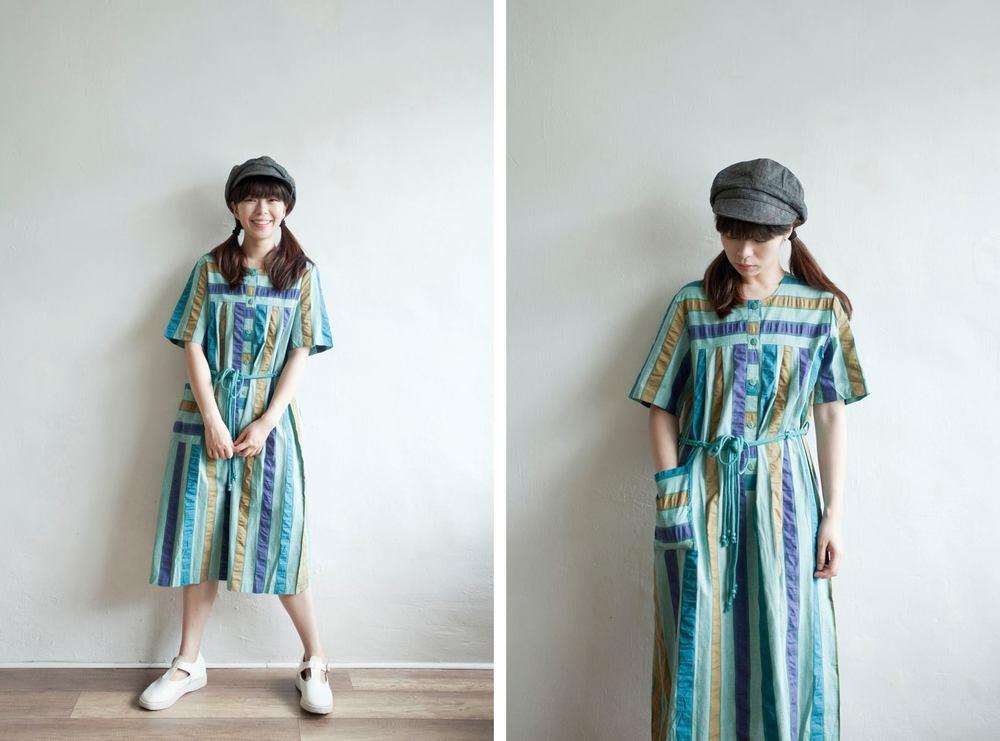 NBV5059 jabori trio color stripe cotton dress price: HK$328 / NT$1410 made in japan  也在賣 \\ 帽子