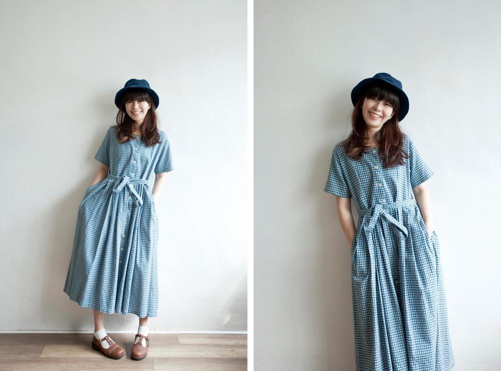 NBV5061 intropic summer blue mini plaids cotton dress price: HK$298 / NT$1280 handpicked in korea  也在賣 \\ 帽子