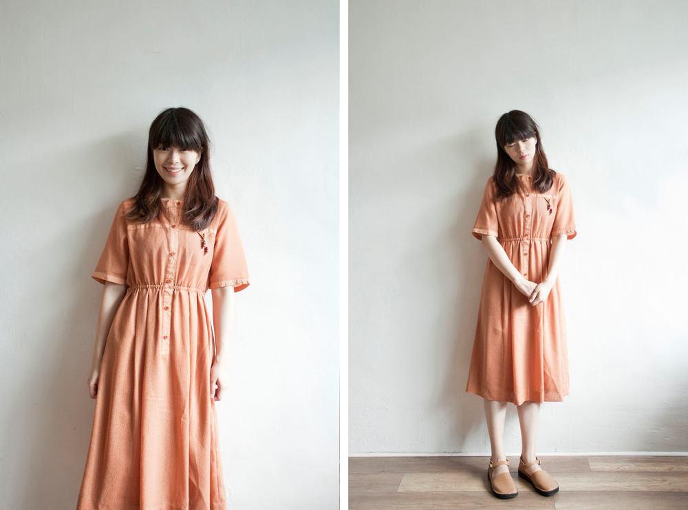 NBV5039 alexis peach linen mesh dress price: HK$328 / NT$1410 handpicked in korea