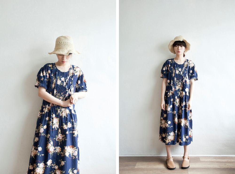 NBV5067 deborah navy roses ruffle sleeves dress price: HK$278 / NT$1190 handpicked in korea  也在賣 \\ 帽子