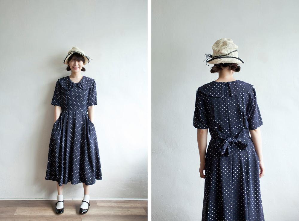 NBV5071 gaylla pan collar navy polka dress price: HK$268 / NT$1150 handpicked in korea  也在賣 \\ 帽子 \ 鞋子