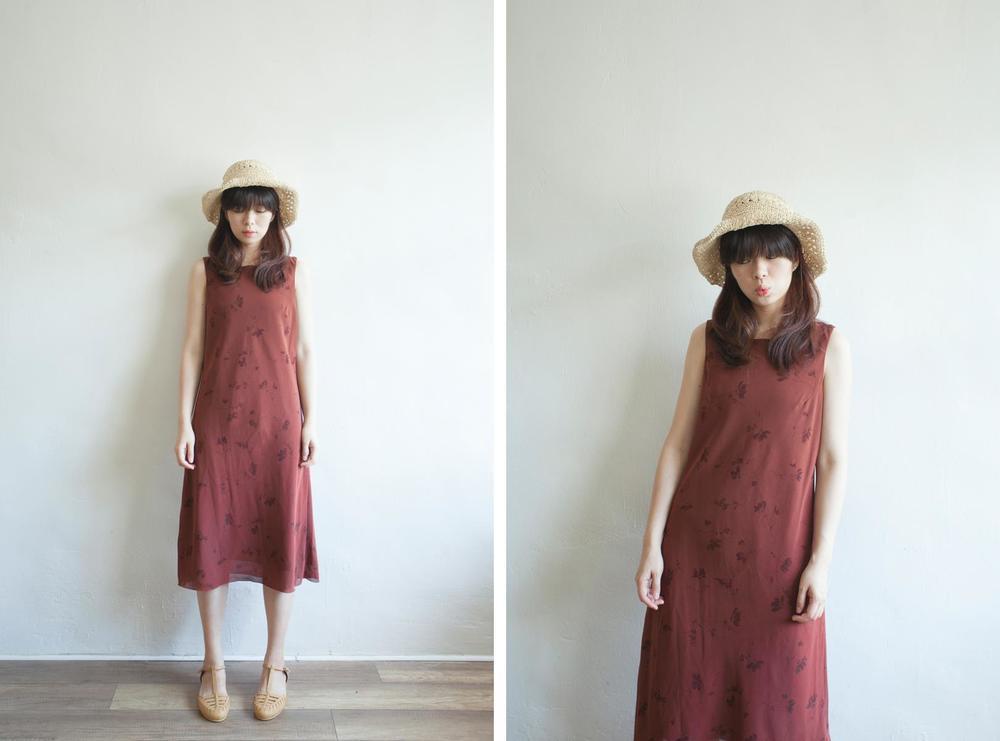 NBV5088 sorena red brown floral dress price: HK$298 / NT$1280 handpicked in korea  也在賣 \\ 帽子 \ 鞋子