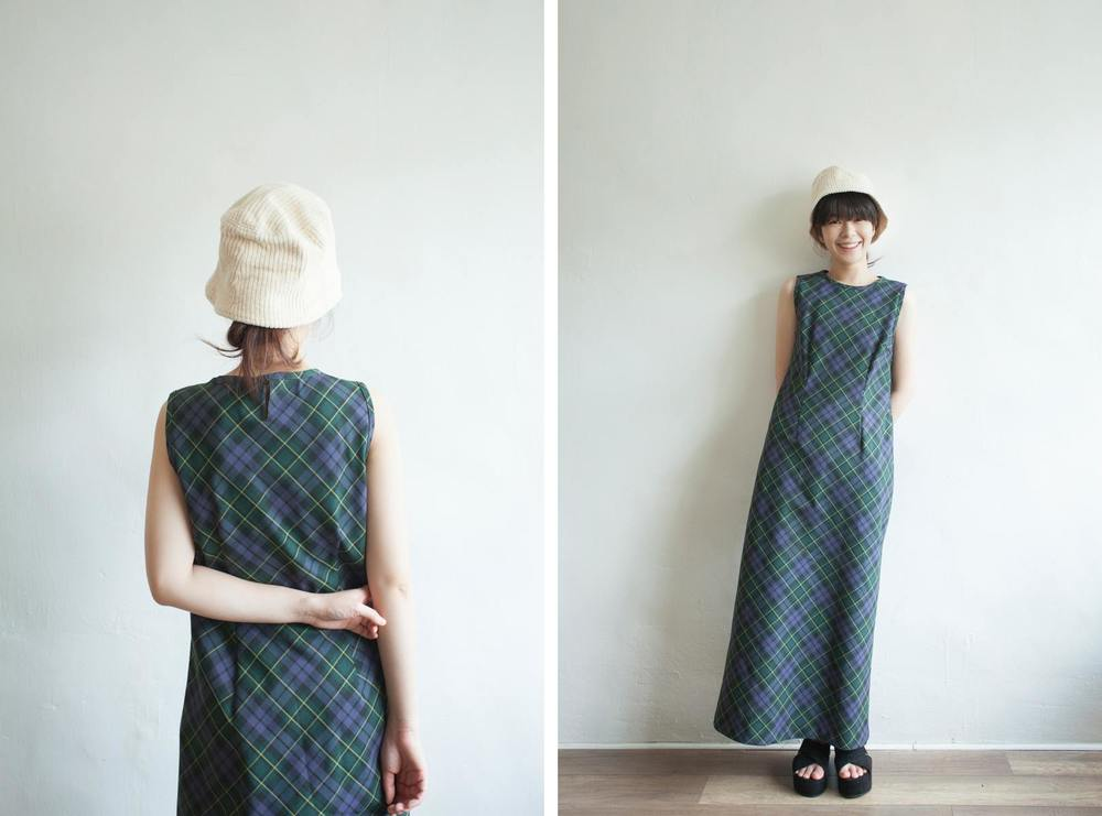 NBV5098 rimma purple green diagonal checks dress price: HK$298 / NT$1280 handpicked in korea  也在賣 \\ 帽子 \ 鞋子