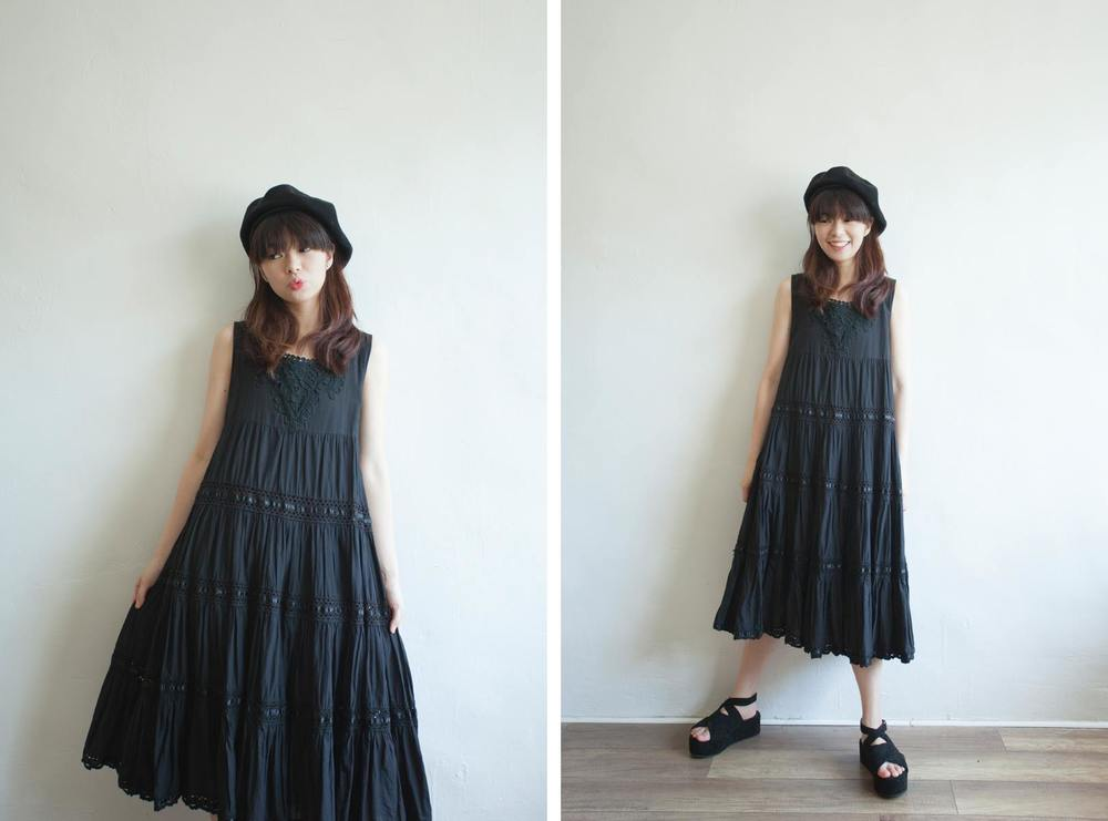 NBV5109 syrenca crochet lace black tiered dress price: HK$328 / NT$1410 handpicked in korea  也在賣 \\ 帽子 \ 鞋子