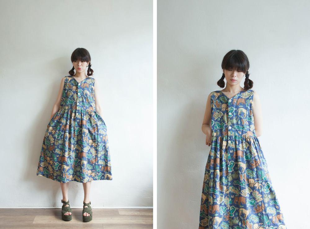 NBV5094 animals cotton summer dress price: HK$298 / NT$1280 handpicked in korea  也在賣 \\ 鞋子