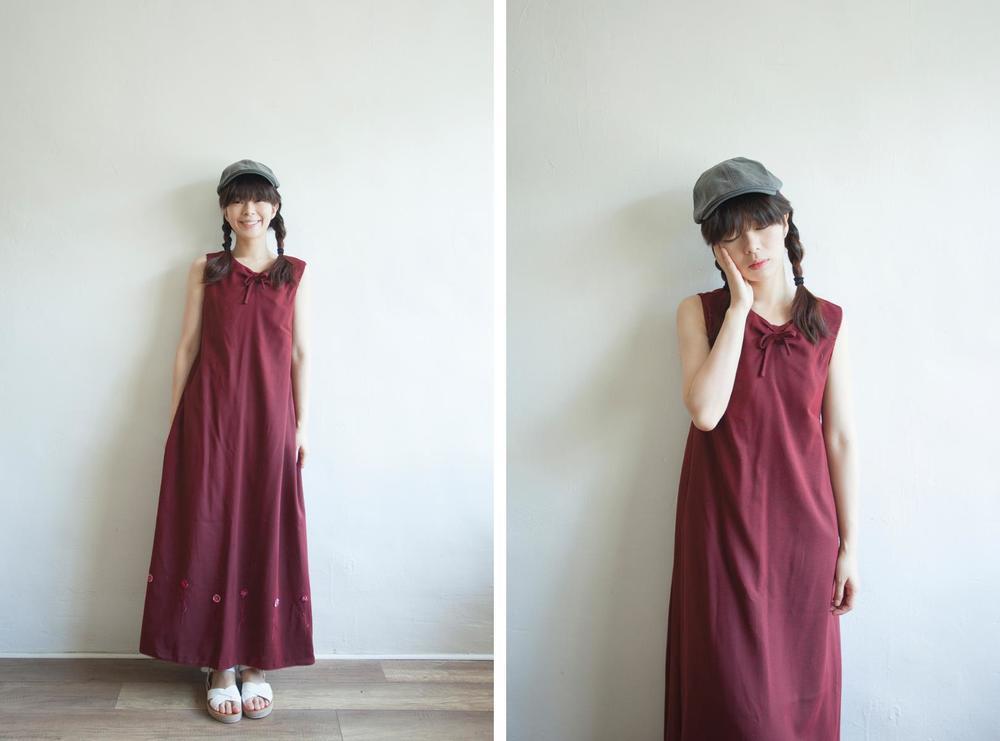 NBV5089 ria ribbon tied floral stitch hem dress price: HK$328 / NT$1410 handpicked in korea  也在賣 \\ 帽子 \ 鞋子
