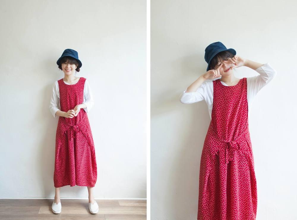NBV5090 jerusha berry red mini floral apron dress price: HK$278 / NT$1200 handpicked in korea  也在賣 \\ 帽子 \ 鞋子 \ 上衣