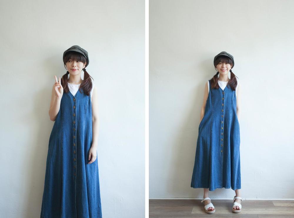 NBV5100 harina back buckle v collar denim dress price: HK$278 / NT$1200 handpicked in korea  也在賣 \\ 帽子 \ 鞋子 \ 上衣