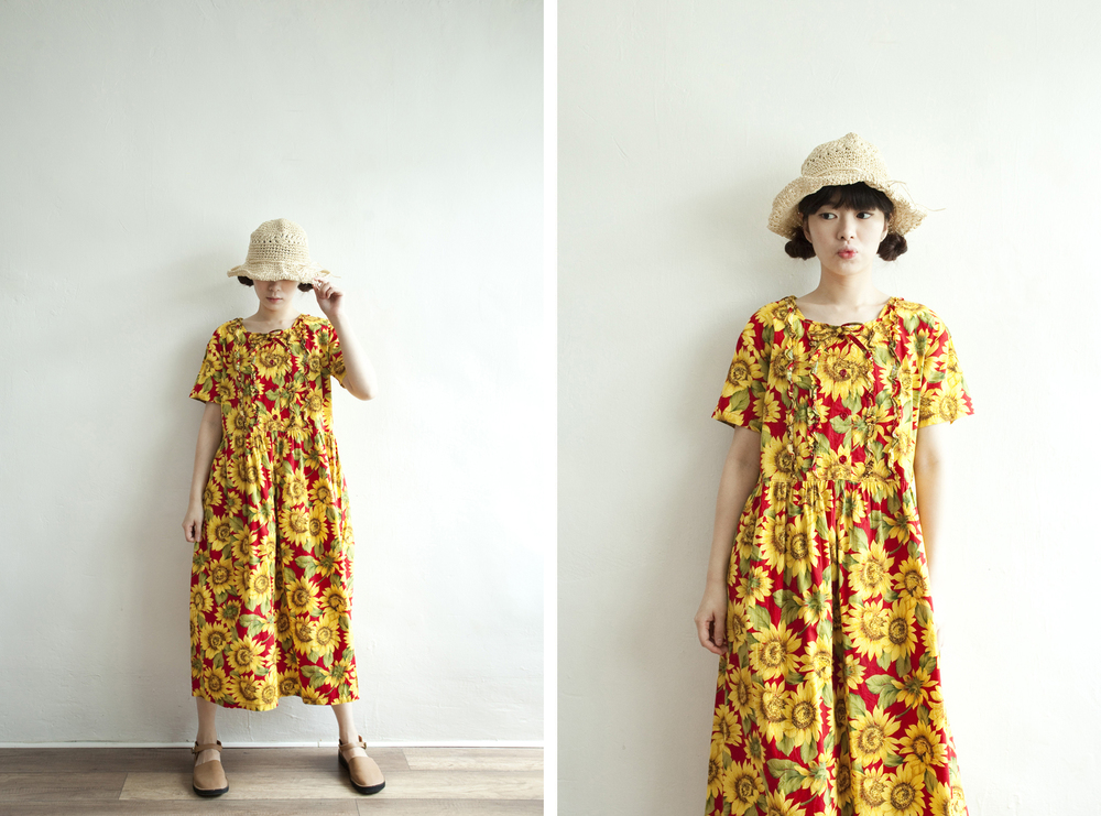 NBV5247 deborah sunflower ruffle cotton dress price: HK$328 / NT$1410 handpicked in japan