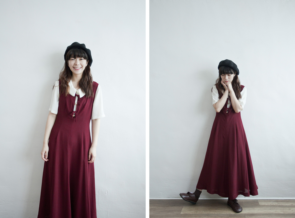 NBV5250 tessami double ribbon loop burgundy dress price: HK$348 / NT$1490 made in japan