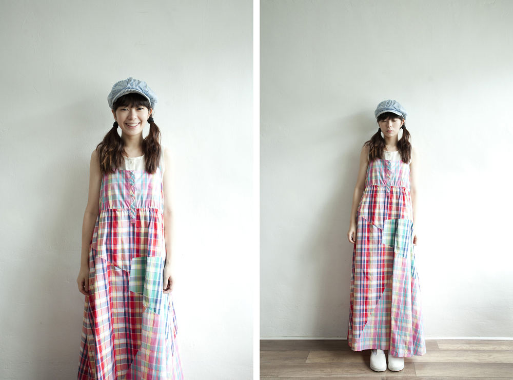 NBV5241 ramiee mixed plaids strap long dress price: HK$368 / NT$1580 handpicked in japan