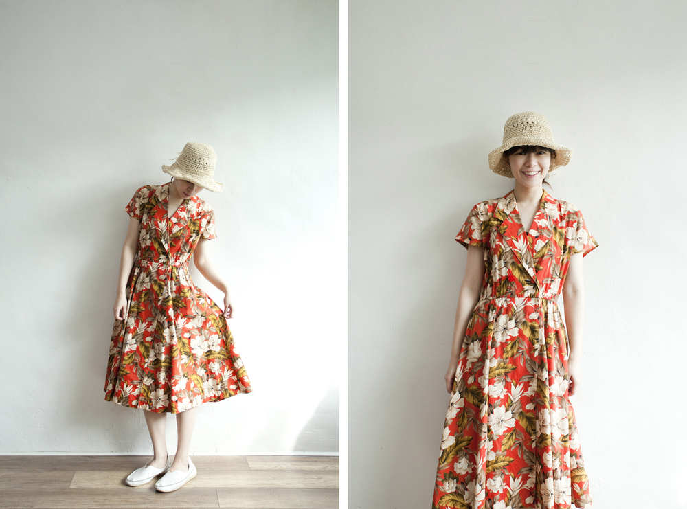NBV5253 pacifidoll hibiscus wrap shirt collar dress price: HK$328 / NT$1410 made in japan