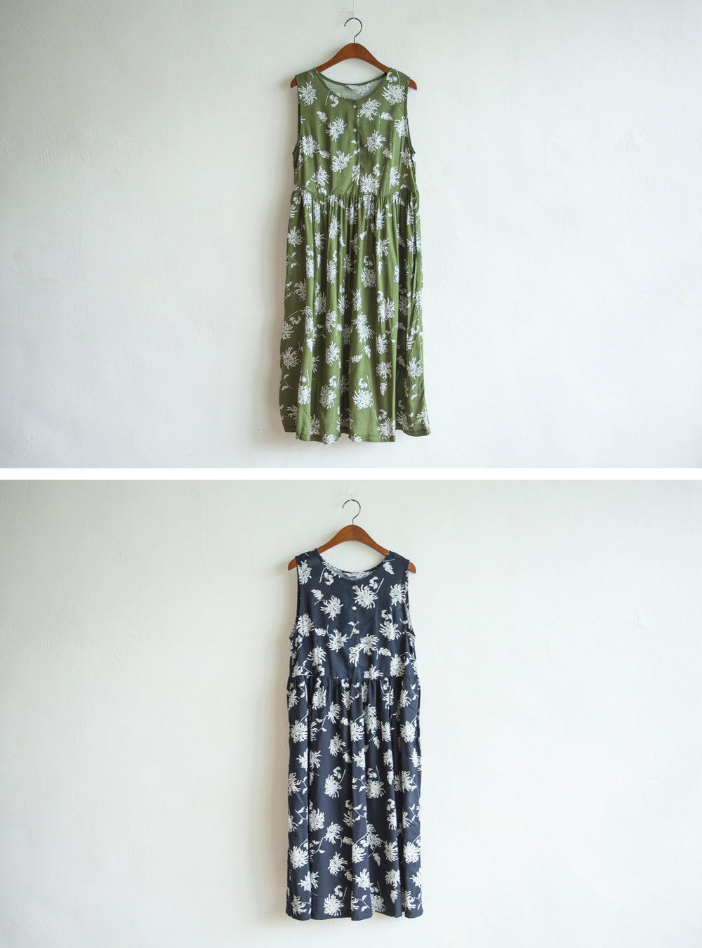 NBOA345 chrysanthemum cotton sleeveless dress    early bird price: HK$358 / NT$1540    regular price: HK$418 / NT$1800    color: green / navy    made in korea     measurement (cm) shoulder 35 bust 96 length 112 waist 92 hip 134