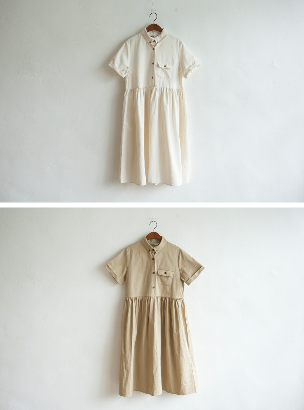 NBOA349 rochell canvas cotton pocket dress    early bird price: HK$368 / NT$1580    regular price: HK$428 / NT$1840    color: ivory / beige    made in korea     measurement (cm) shoulder 39 bust 97 length 104 waist 88 hip 128 sleeves 20