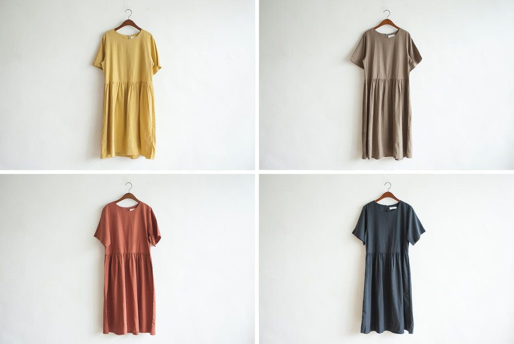 NBOA350 heidi linen doll dress    early bird price: HK$328 / NT$1410    regular price: HK$378 / NT$1630    color: yellow / chestnut brown / coral / dark navy    made in korea     measurement (cm) shoulder 38 bust 96 length 98 waist 96 hip 124 sleeves 25
