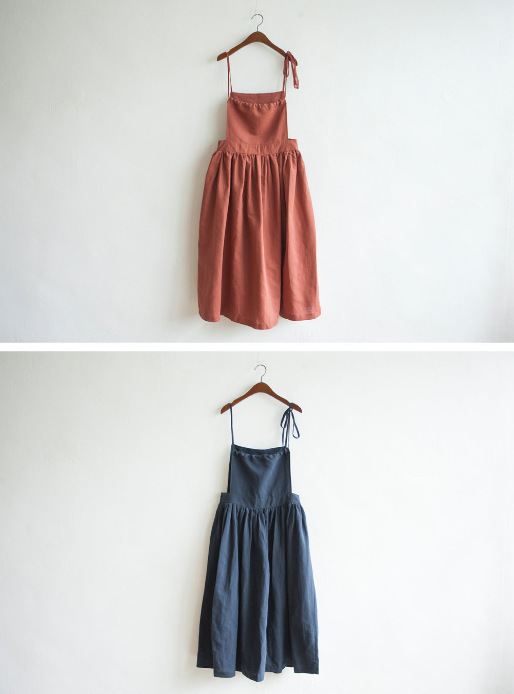 NBOA351 chaya linen apron pouf dress    early bird price: HK$398 / NT$1710    regular price: HK$468 / NT$2010 color: coral / navy    made in korea     measurement (cm) length 119 waist 81 hip 133