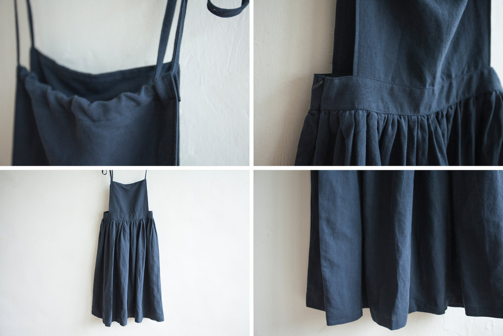 NBOA351 chaya linen apron pouf dress    early bird price: HK$398 / NT$1710    regular price: HK$468 / NT$2010 color: navy    made in korea     measurement (cm) length 119 waist 81 hip 133