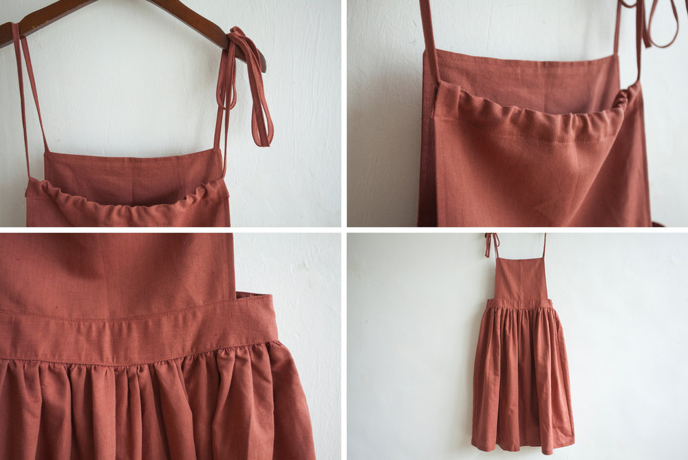 NBOA351 chaya linen apron pouf dress    early bird price: HK$398 / NT$1710    regular price: HK$468 / NT$2010 color: coral     made in korea     measurement (cm) length 119 waist 81 hip 133