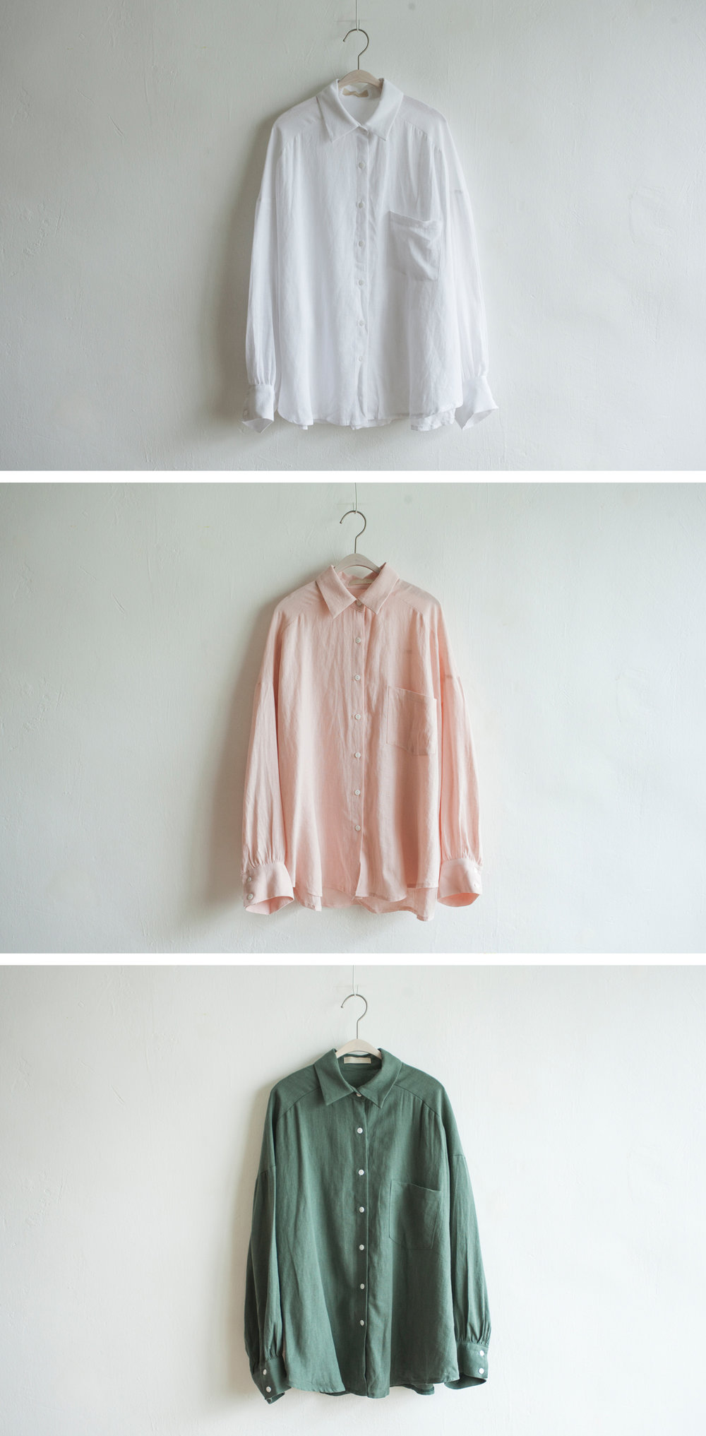 NBT800 reneska cotton loose shirt early bird price: HK$328 / NT$1410    regular price: HK$378 / NT$1630    color: white / pink / green    made in korea       measurement (cm)    shoulder flexible    bust 123    length 68 sleeves 60