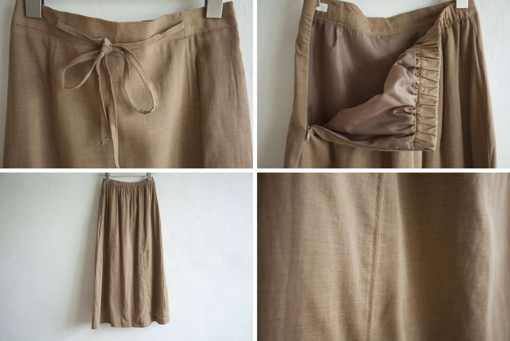 NBB245 aleka linen ribbon tied midi skirt early bird price: HK$348 / NT$1490    regular price: HK$398 / NT$1710    color: toffee brown size: free    made in korea       measurement (cm)    length 85    waist 65-69 hip 100