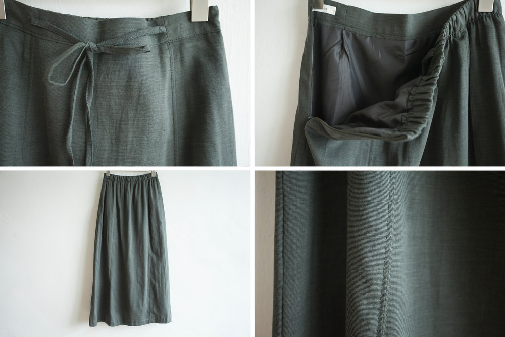 NBB245 aleka linen ribbon tied midi skirt early bird price: HK$348 / NT$1490    regular price: HK$398 / NT$1710    color: white / toffee brown / seaweed green size: free    made in korea       measurement (cm)    length 85    waist 65-69 hip 100